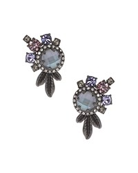 Marchesa Cluster Stud Earrings Gray White