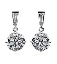 Carat 2Ct Brilliant Round Drop Earrings Female Silver