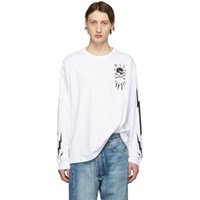 R 13 R13 White Skull Bolt Long Sleeve T Shirt