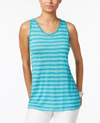 G.H. Bass And Co. Striped Tank Top Teal Black