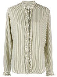 Massimo Alba Striped Blouse Green