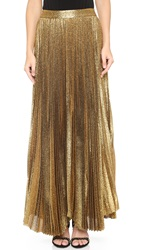 Alice Olivia Katz Sunburst Pleated Maxi Skirt Gold