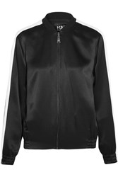 Karl Lagerfeld Embroidered Satin Bomber Jacket Black