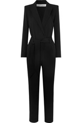 Iro Delicate Belted Wrap Effect Crepe Jumpsuit Black