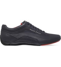 Hugo Boss Hb Racing Leather Trainers Navy