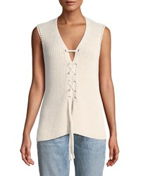 Cupcakes And Cashmere Kristy Lace Up Sleeveless Sweater Beige