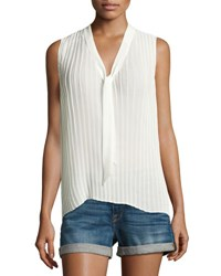 Frame Pleated Sleeveless Tie Neck Blouse Off White