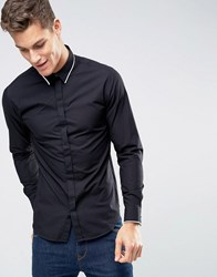 Selected Homme Long Sleeve Slim Shirt With Tipped Collar Black