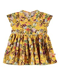 Molo Cinna Woven Collared Floral Dress Size 6 24 Months Yellow Pattern