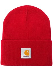 Carhartt Wip Logo Patch Beanie Hat Red