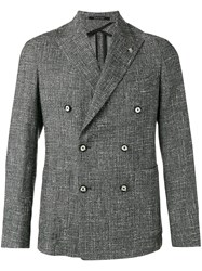 Tagliatore Crosshatch Double Breasted Jacket Grey