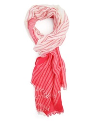 Menlook Label Red And White Striped Scarf