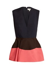 Delpozo Colour Block Peplum Cotton Top Pink Navy
