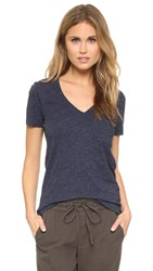 Madewell Whisper Cotton V Neck Pocket Tee Heather Indigo