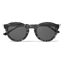 Thierry Lasry Zomby Round Frame Striped Acetate Sunglasses Gray