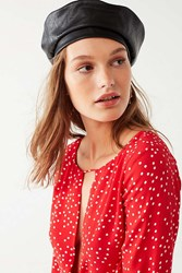Urban Outfitters Faux Leather Beret Black