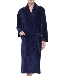 Derek Rose Terry Cloth Robe Navy