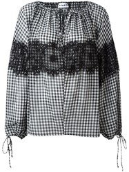 Ainea Checked Lace Blouse Black