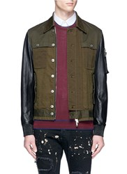 Dsquared Leather Sleeve Twill Jacket Green
