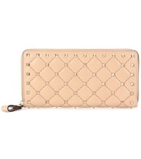 Valentino Garavani Rockstud Spike Leather Wallet Beige