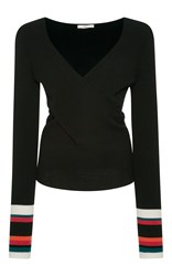 Tome Long Sleeve Criss Cross Knit Black