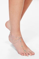 Boohoo Kate Turquoise Stone Chain Foot Anklet Silver