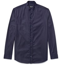 Giorgio Armani Slim Fit Grandad Collar Indigo Dyed Denim Shirt Blue