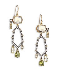 Alexis Bittar Elements Light Citrine Hydro Quartz And Crystal Honeycomb Drop Earrings Gold Citrine