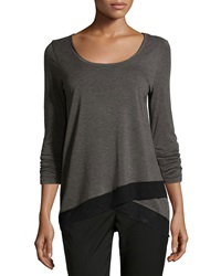Chelsea And Theodore Ruched Sleeve Top With Mesh Charcoal B