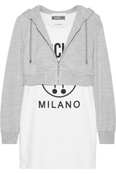 Moschino Hooded Printed Stretch Cotton And Jersey Mini Dress White