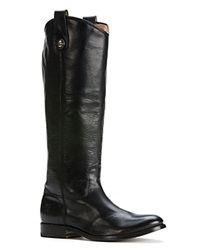Frye Flat Riding Boots Melissa Button Extended Calf Black