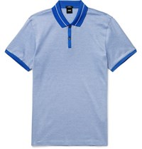 Hugo Boss Slim Fit Striped Cotton Jersey Polo Shirt Blue