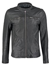 Superdry Real Hero Leather Jacket Black
