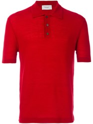 Pringle Of Scotland Knitted Polo Shirt Men Merino L Red