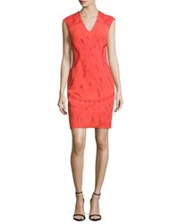 Ph15 Sleeveless Embroidered Ponte Mini Dress Mandarin