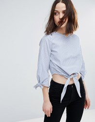 Influence Tie Front And Sleeve Cotton Top Blue