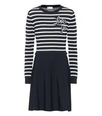 Red Valentino Love You Striped Knit Dress Blue