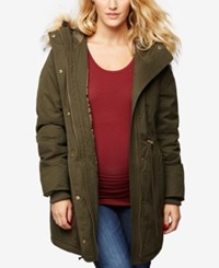 A Pea In The Pod Maternity Snap Front Coat Olive