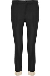 Gucci Ruffle Trimmed Silk And Wool Blend Skinny Pants Black