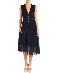 Nina Ricci Sleeveless Button Front Dress W D Ring