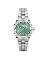 Versace Versus South Horizons Silver Stainless Steel Women's Bracelet Watch W Green Dial And Crystals