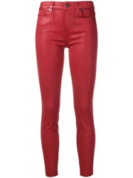 Paige Cropped Skinny Trousers Red