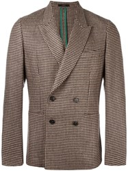 Paul Smith Peaked Lapel Checked Blazer Nude Neutrals