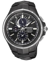 Seiko Men's Solar Chronograph Coutura Black Ion Plated Stainless Steel Bracelet Watch 44Mm Ssc377