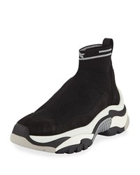 Ash Addict Stretch Sock Sneakers Black Silver