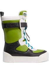Marc By Marc Jacobs Paneled Textured Leather High Top Sneakers Green