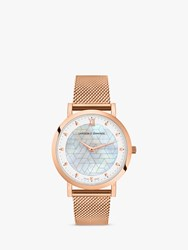 Larsson And Jennings Unisex Bernadotte Mesh Bracelet Strap Watch Rose Gold Mother Of Pearl Lgn33 Crmg Cpp Rg
