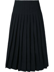Christophe Lemaire Pleated Mid Length Skirt Women Spandex Elastane Virgin Wool 36 Black