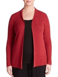 Eileen Fisher Plus Size Wool Open Front Cardigan Red