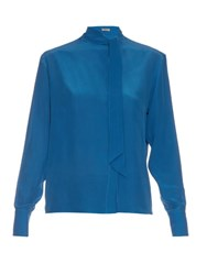 Bottega Veneta Tie Neck Silk Crepe De Chine Blouse Blue